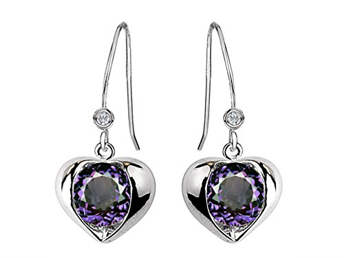 (Star K Round 6mm Simulated Alexandrite Heart Hook Earrings Sterling Silver)