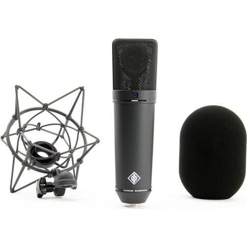 Neumann Microphone Set, Includes U 87 AI MT Microphone, EA 87 MT Elastic Suspension, WS 87 Windscreen, IC 3/25 Cable, Wooden Case, Black