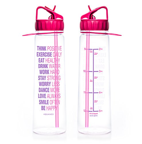 30oz Inspirational Fitness Workout Sports Water Bottle with Time Marker | Measurements | Goal Marked Times Bottle For Measuring Your H2O Intake, BPA Free Non-toxic Tritan (Think Pink Fuchsia)