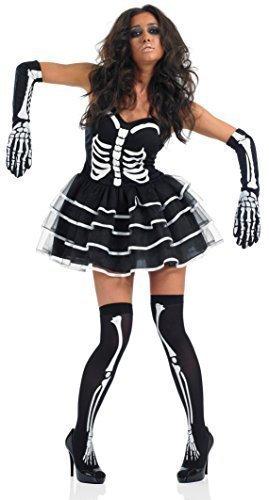 Ladies Sexy Skeleton Tutu & Stockings Halloween Fancy Dress Costume Outfit with Gloves & Stockings 8-22 Plus Size (UK 16-18) Black/White -