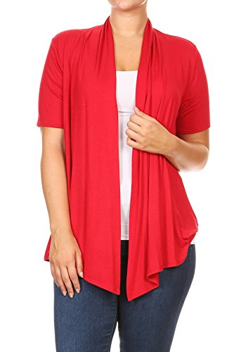 Basic Solid Color Short Sleeve Open Front Cardigan MADE IN USA (3X, Red)