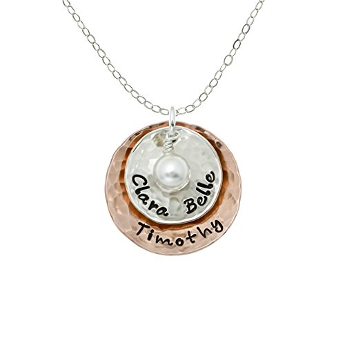 (Deux Amore Multi-Tone Two Disc Necklace Personalized on Sterling Silver and Rose Gold Plated Discs with your Choice of Names. Includes Swarovski Pearl. Hand finished and Includes 925 Chain)