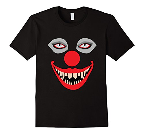 Mens Really Creepy Scary Teeth Horror Clown T-Shirt Large (Really Scary Clowns)