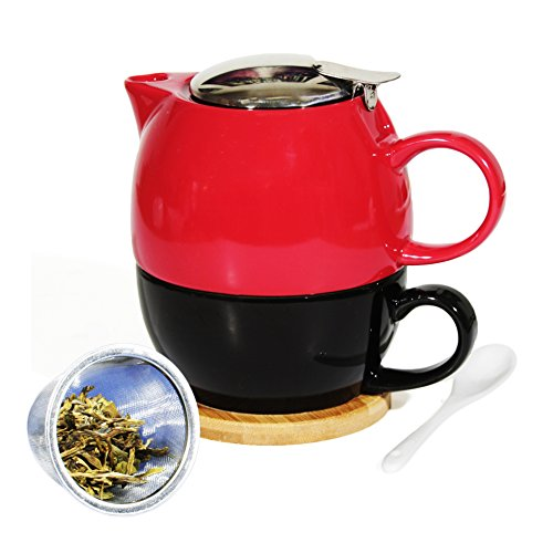 Janazala Tea for One With Ceramic Tea Cup and Teapot Infuser For Loose Tea, Single Tea Set, Anniversary Gift, Birthday Present for Mom or Dad, Tea Mug infuser, Porcelain, Red/Black