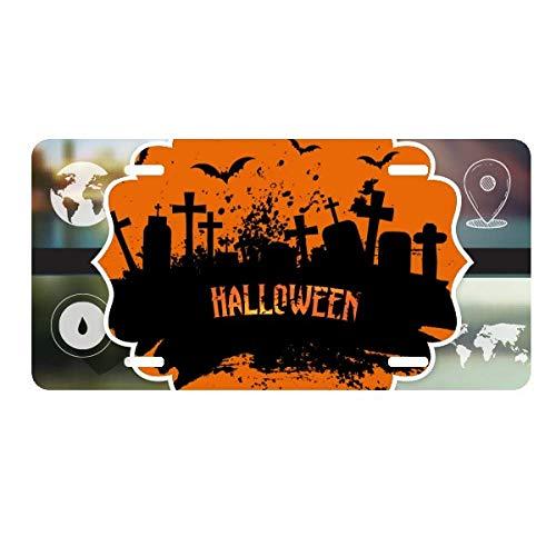 DIYthinker Horror Night Cemetery Halloween License Plate Car Decoration World Map