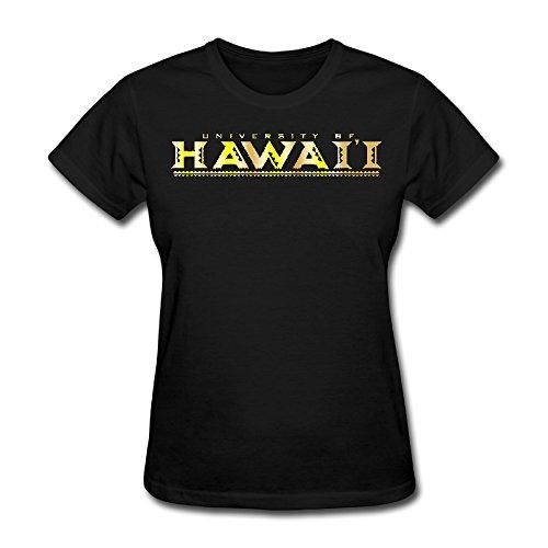 Womens Hawaii Warriors University Gold Style Logo T Shirt Xxl Black
