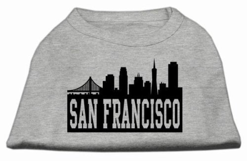 Mirage Pet Products 8-Inch San Francisco Skyline Screen Print Shirt for Pets, X-Small, Grey by Mirage Pet Products