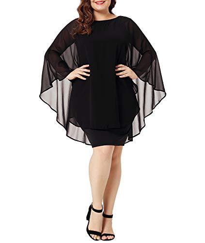Solid Color Womens Plus XAKALAKA Black Pencil Cocktail Dress Party Chiffon Size wxYOOBHq