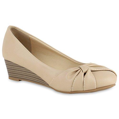 a23efb703ebb0c Stiefelparadies Klassische Damen Pumps Keilabsatz Keilpumps Wedges Schuhe  Flandell Creme