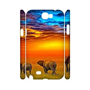 DIY Phone Case with Hard Shell Protection for Samsung Galaxy Note 2 N7100 3D case with Colorful Elephant lxa#273671