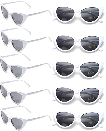 10 Pack Retro Vintage Narrow Cat Eye Sunglasses for Women Party Favors Clout Goggles Plastic Frame (white cateye sunglasses) -