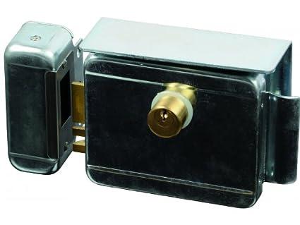SCS SEN4131198 - Cerradura eléctrica (con pulsador en el interior, carcasa cincada con cilindro