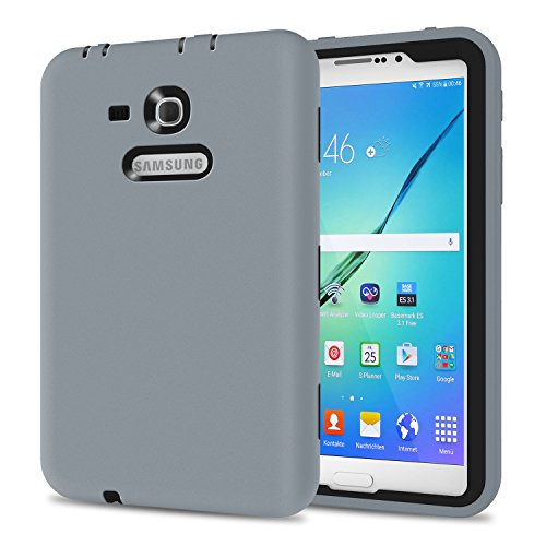 Galaxy Tab 3 Lite 7.0 Case, TKOOFN Shockproof Heavy Duty Rugged Hybrid Silicone Case Cover for Samsung Galaxy Tab 3 7-Inch SM-T210 / SM-T211(Grey+Black)