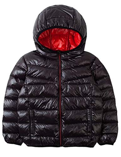 Jacket Puffer Girls Hooded (Spring&Gege Kids' Quilted Packable Hoodie Lightweight Puffer Jacket Windproof Outwear Children Warm Duck Down Coat for Boys and Girls Size 5-6 Years Black/Red)