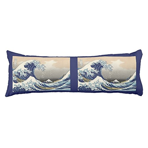 UOOPOO Vintage Japanese Great Wave Nautical of Mt. Fuji Polyester Body Pillow Cover Square 20 x 54 Inches for Bed Two (Mt Fuji Wave)