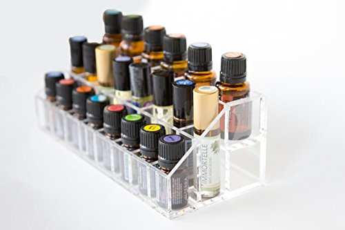 Premium Essential Oils Acrylic Organizer | 22 Total Compartments | Fits Young Living & DoTERRA | Display Case Fits on Bathroom Counter | Fits 5 mL 10 mL 15 mL & Roll-On Bottles | By PureBloom Products