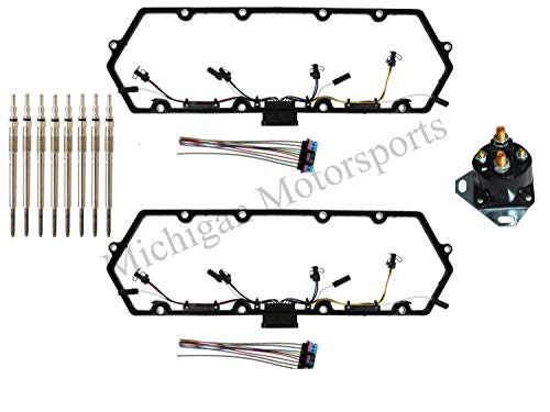 Michigan Motorsports 7.3 L Diesel Powerstroke Valve Cover Gasket, INCLUDES 8 Glow Plugs, Relay, Plus Injector Glow Plug Harness - Fits Ford 7.3 F250 F350 1997-2003 (Cover Ignition Plugs)