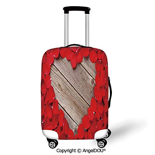 (AngelDOU Durable Elastic Suitcase Luggage Protective Cover Rose Vibrant Red Rose Petals on Wood Planks Forming a Heart Shape Romance Love Passion Vermilion Cocoa Trolley Dust Rain Bags Accessories. )