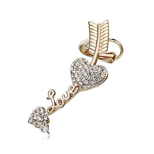 - OKAJEWELRY Left Ear Cuff Earrings - Sweep Up Crystal Love Heart Arrow Cartilage Wrap Climber Earring Gold Tone