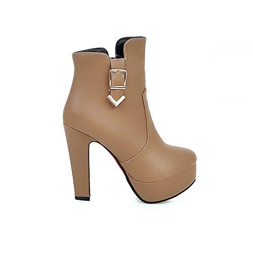 AgooLar Damen Hoher Absatz Niedrig-Spitze Rein Stiefel mit Schnalle Aprikosen Farbe