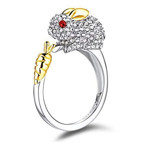 Jenny-BaBy Cute Animal Chinese Zodiac Symbol Carrot Rabbit Ring Austrian Crystal (Rabbit Symbol Chinese)