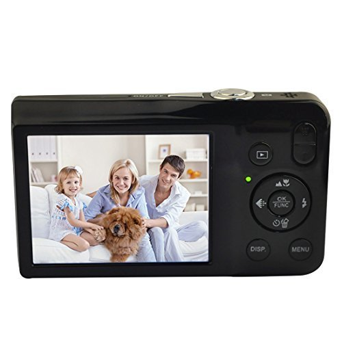 Digital Camera,KINGEAR V100 2.7 Inch TFT Color LCD Screen 15MP 720P HD Anti-shake Smile Capture Digital Video Camera with 5X Optical Zoom 4X Digital Zoom – Black