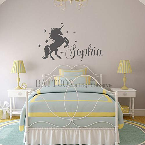 Wall Art, Custom Name Baby Room Wall Decal, Unicorn Pony Vinyl Decal Stars Nursery Wall Art Plus Free Hello Door Decal, 28