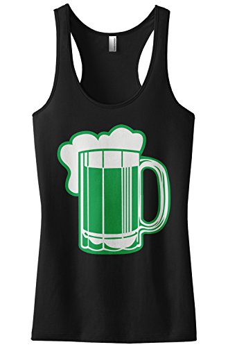 Threadrock Women's Green Beer St Patrick's Day Racerback Tank Top M Black