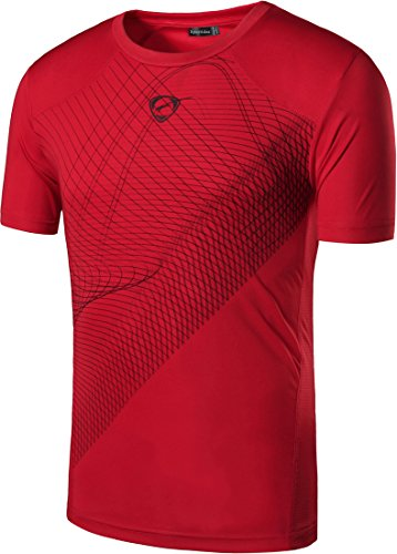 Sportides Big Boy's Quick Dry Active Sport Short Sleeve Breathable Tshirts T-Shirts Tees Tops LBS703 Red M