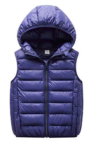 Happy Cherry Boys Wasitcoat Warm Winter Elastic Hem Slant Pockets Full Zipper Up Hooded Down Vest 7-8T Blue