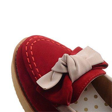 Tacón Microfibra Rojo Otoño Plataforma Vestido Pajarita Primavera Beige Confort ggx Lvyuan Casual Mujer Combinación Cuña Media Tacones Azul BIqxPa