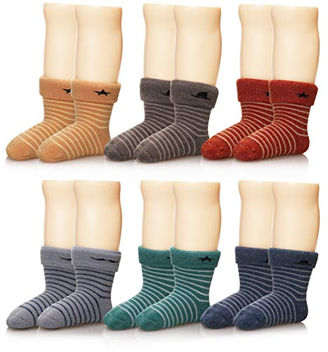 (Eocom 6 Pairs Children's Winter Thick Warm Wool Socks Soft Kids Socks Random Color (1-3 Years, Stripe))