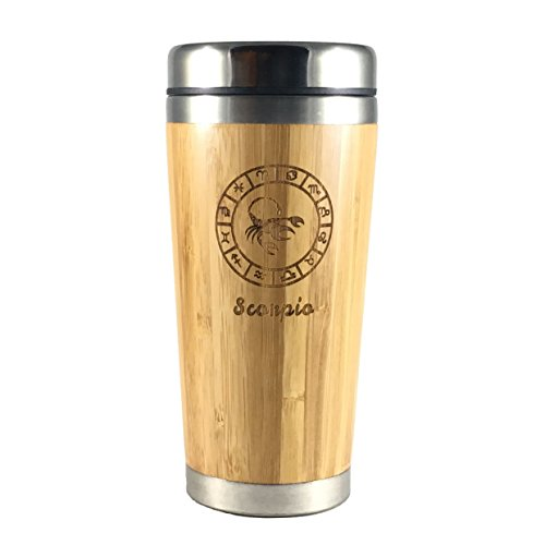 The Zodiac Mug | Premium insulated travel mug for Coffee & Tea | Natural bamboo and Stainless Steel | 15.2 oz.(450ml) | Spill Proof Lid | Slip resilient base | Wooden engraving (Scorpio)