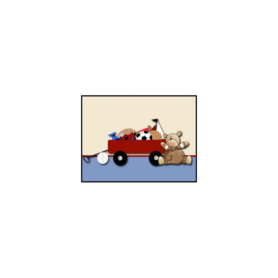 Little Red Wagon Teddy Bear Sports Boy Stamp