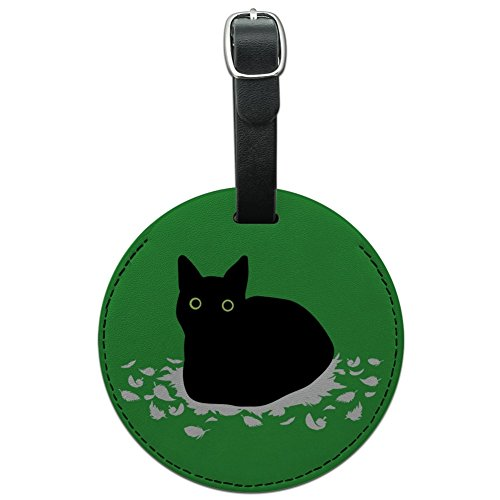 Black Cat Sitting on Feathers Round Leather Luggage Card Carry-On ID Tag