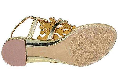 SYYAN Damen Leder Strasssteine Schmetterling Offener Zeh Pure Handmade Low-heeled Kleid Sandalen 1