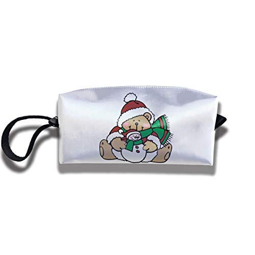 (Cosmetic Bags With Zipper Makeup Bag Cute Teddy Bears Dressed For Christmas Middle Wallet Hangbag Wristlet Holder)