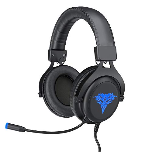 BENGOO GH2 Gaming Headset for PS4, PC, Xbox One Controller, Noise Canceling Over Ear Headphones with USB 2.0 Extension Cable, Mic, LED Light, Soft Memory Earmuffs for Mac Nintendo Switch Games