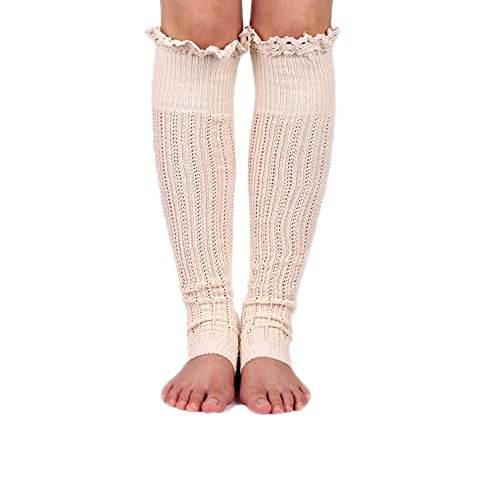 Spring Fever Crochet Lace Trim Cotton Knit Leg Warmers Boot Socks, Beige (Lace Trim Petite)