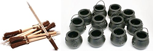 12 mini cauldrons + 12 broom pens - Harry Potter party or Halloween Party set!
