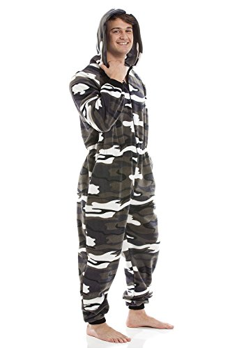 Camille Mens Snow Camouflage Supersoft Fleece Zip Front Hooded Onesie at Amazon Mens Clothing store: