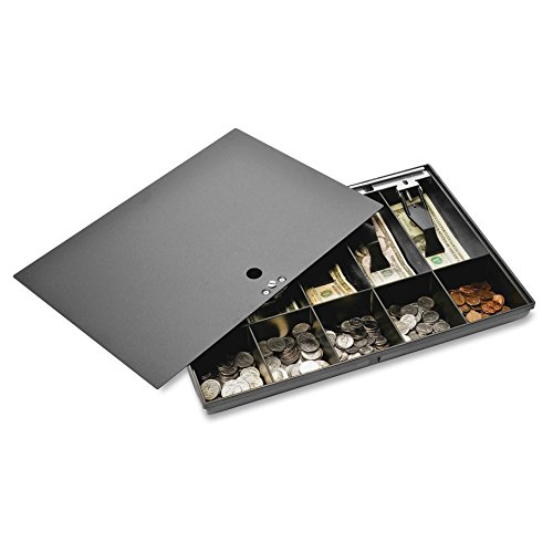 Sparco Money Tray, with Locking Cover, 16 x 11 x 2-1/4 Inches, Black (SPR15505) (Black Drawer Cash)