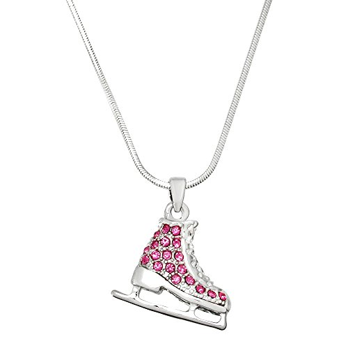 CFG ONLINE Pink Crystal Ice Skate Charm Pendant Necklace