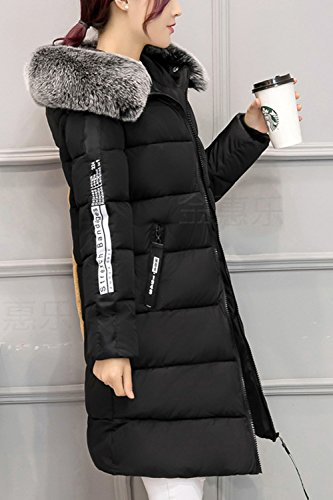Black Long Quilted Parkas Furry Winter Zip Warm Hoodie La Mujer Outwear Casual xTR7B7
