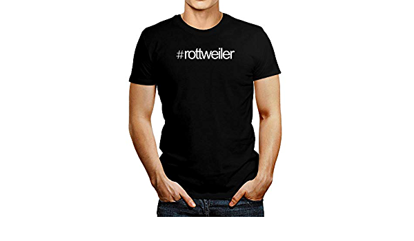Idakoos Hashtag Rottweiler Camiseta de texto negrita: Amazon ...