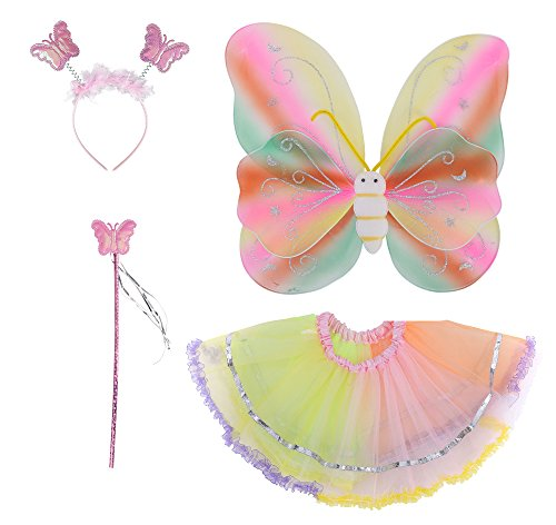 Spooktacular Costume Fairy Wings Set with Tutu, Wand, Headband - Rainbow