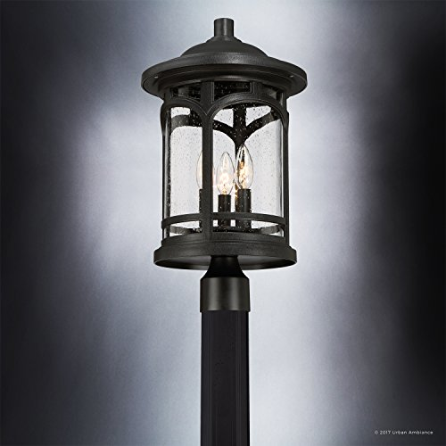 Luxury Rustic Outdoor Post Light, Medium Size: 19''H x 11''W, with Colonial Style Elements, Wrought Iron Design, High-End Black Silk Finish and Seeded Glass, UQL1106 by Urban Ambiance by Urban Ambiance (Image #4)