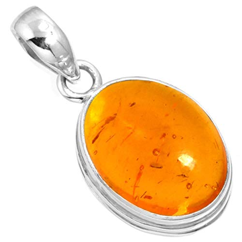 Silver Pendant Cabochon Handmade Sterling (925 Sterling Silver Pendant Amber Handmade Jewelry)