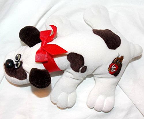1985-vintage-newborn-pound-puppies-plush-8-white-puppy-with-brown-spots-and-red-bow-collar