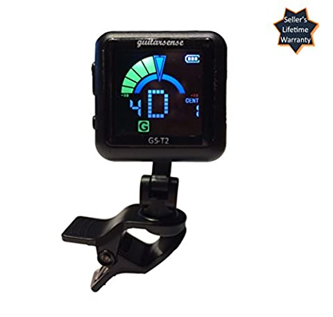 GuitarSense GS-T2 - Clip on USB Rechargeable Guitar Tuner for Acoustic, Classical & Electric Guitars, Bass, Violin & (Tuner For Stringed Instruments)